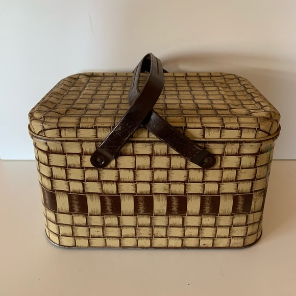 Vintage Brown metal picnic basket circa 1950s